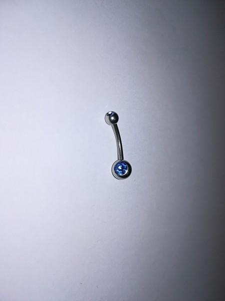 Серьга для пирсинга в пуп, родий цвет голубой